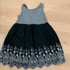 Black and white embroidered tank top dress
